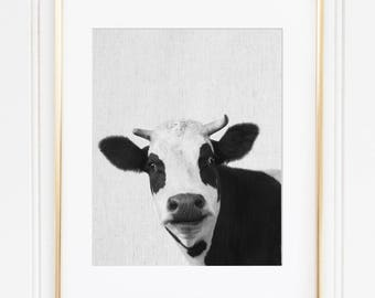 Cow Print, Cow Painting, Cow Art, Cow Decor, Cow Picture, Scandinavian Modern, Farm Animal Instant Download, Printable Funny Cow