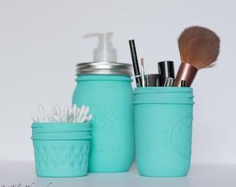 Blue Mason Jar Bathroom Storage -Turquoise Bathroom Set of 3