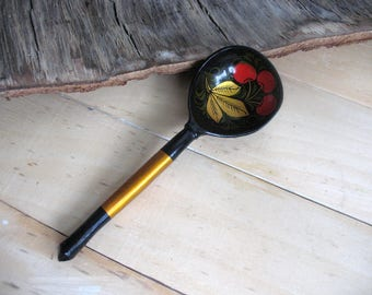 Vintage hand painted wooden spoon Khokhloma spoon Spoon black red gold Russian painted spoon Folk rustic decor Home decor Kitchen decor