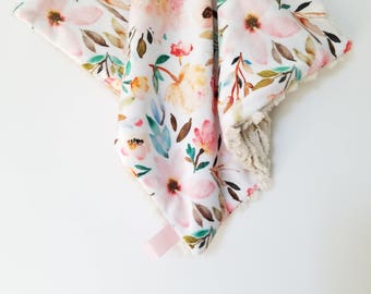 Watercolor Floral Caramel Lovey, Baby Girl Lovey, Minky Lovey, Floral Baby Blanket, Minky Blanket, Floral Minky Lovey, Baby Lovey, Lovey