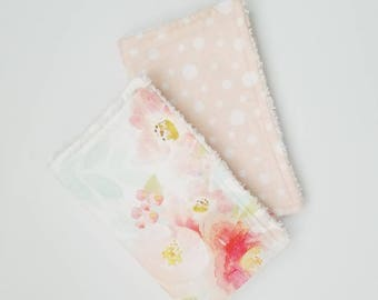 Watercolor Floral Burp Cloths, Floral Burp Cloth Set, Baby Girl Burp Cloths, Floral Burp Cloths, Baby Girl Gift, Modern Baby Gift