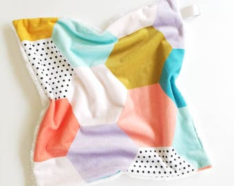 Modern Hexagon Lovey, Baby Girl Lovey, Minky Lovey, Hexagon Baby Blanket, Minky Blanket, Hexagon Minky Lovey, Baby Lovey, Security Lovey