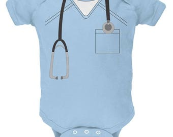 Halloween Doctor Scrubs Costume Soft Baby One Piece