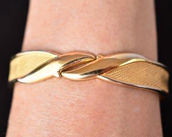 "Vintage 80s Monet Geometric Hinged Clamper Bangle Bracelet Signed Delicate Minimalist Retro Costume Jewelry 6.5"""