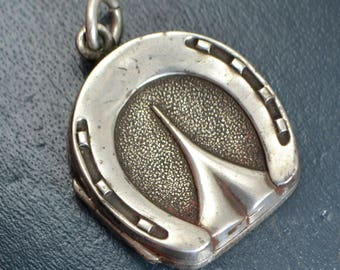 1881 Antique Sterling SILVER Detailed HORSE'S HOOF Horseshoe Equestrian Locket Pendant