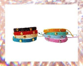 Woven Sparkly Friendship Bracelet skinny simple tacks studs women handmade threads trends thin golden silver pastels cute - Q'enqo Bracelets