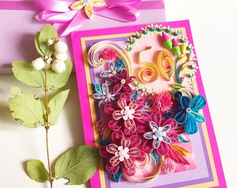 50th anniversary,Congratulations 3d card,Greeting cards,Quilling floral card,Pink Birthday Card,Special Birthday Card,Delicate Flowers