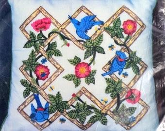 Lattice Work Bluebirds Vtg Crewel Pillow Kit Flowers Leaves Mazaltovs Crewel Kit