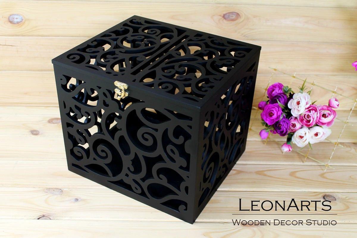 Card Gift Box Wedding: Black Wedding Card Box BIG SIZE-Wedding Gift-Plywood-Keepsake