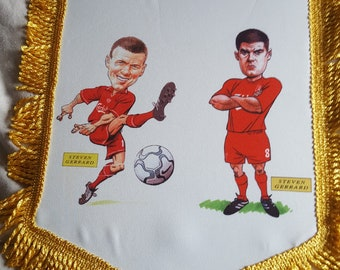 steven gerrard liverpool fc famous midfielders 14x12inch colour pennant and scarf