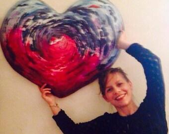 Wall sculpture, gift, art wall, decoration sculpture, Heart Art, handmade, art object, decorative panel, wall art, special gift