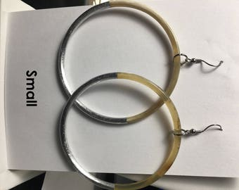 Silver Lacquer Ring Earrings (Small and large)