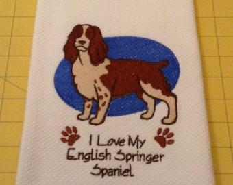 I Love My English Springer Spaniel (Brown) Martha Stewart Collectible Embroidered Kitchen Hand Towel 100% cotton, 20 x 30