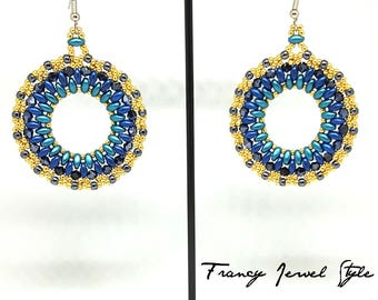 Cod blue and gold hoop earrings 03601