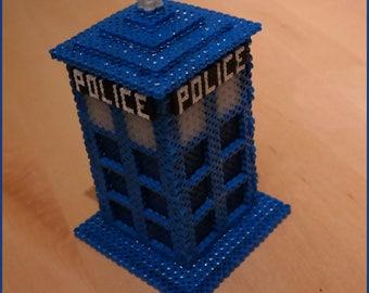 Pixel Art box the Tardis from doctor Hama MiDi beads