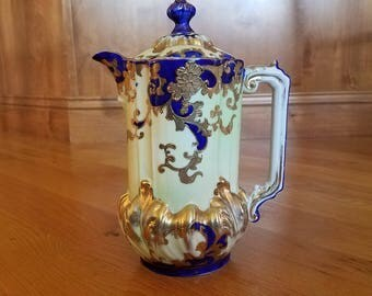 Nippon Cobalt Hand Painted Chocolate Pot