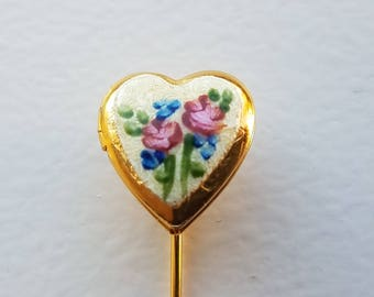 Guilloche Heart Locket Stick Pin