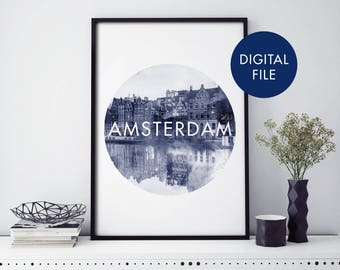 Houses in Amsterdam, Netherlands Watercolour Print Wall Art | Print At Home | Digital Download File