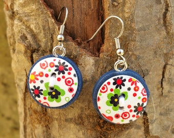 Earrings polymer clay + buttons