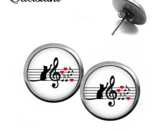 Stud Earrings Stainless Steel Cabochonschmuck cat clef with Heart