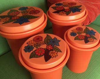 Vintage 70s Retro Orange Plastic Rubbermaid Canister Set of 4 with Floral/Flower Power Lids