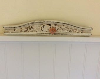 Antique Pediment, Carved Wood with Hawaiian Sunrise Shell