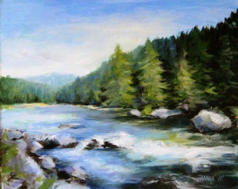Landscape painting, original  painting, river painting