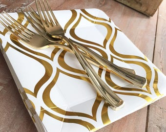 Modern Gold Arabesque Dessert Plates. Modern Party Supplies. Gold Party.  White and Gold Disposable Plates.