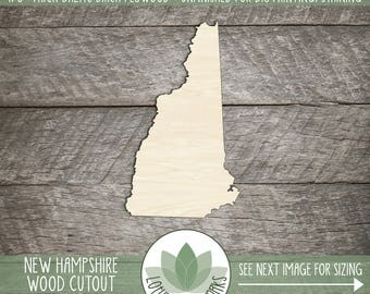 New Hampshire State Wood Cutout, Unfinished Wood New Hampshire Laser Cut Shape, DIY Craft Supply, Many Size Options, Great For Signs