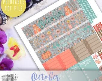 50% OFF ERIN CONDREN October Monthly View Kit – Printable Planner Stickers