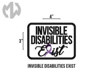 """INVISIBLE DISABILITIES EXIST 3"""" x 4"""" Service Dog Patch"""