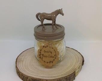 Dark Beige Horse Mason Jar, storage, treat jar