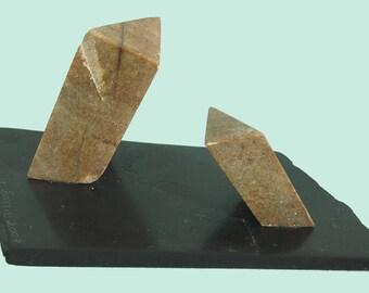 """small sculpture abstract soapstone """"Martian temple ochre"""" - unique"""