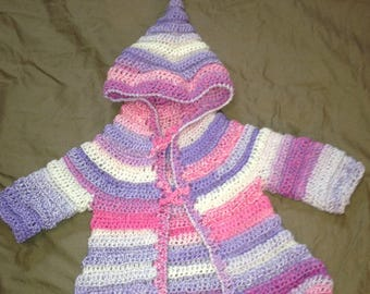 Pixie with pointy hood crocheted Cardigan size 3 months pink tones
