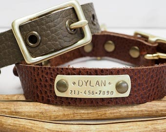 Dog Collar, Leather dog collar, Personalized Dog Collar, Pet Gift, Dogs Name Plate,  Rustic Brown, Small Dog collar, Olive Green Collar