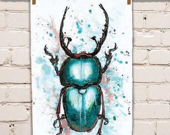 Stag Beetle Tea Towel