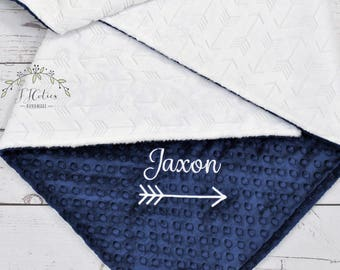 Personalized Baby blanket-Personalized White Navy Minky crib blanket-Arrow baby blanket-Baby blanket-Personalized Baby Girl Boy Blanket