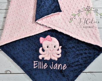 Baby Blanket Personalized Minky-Octopus baby blanket-Octopus Minky blanket- Girl Minky Octopus Blanket-Octopus Girl Blanket-Ocean Nursery