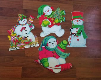 Paper Christmas Wall Decor Sign or Any Craft Supply - SNOWMEN - USED Set of 4