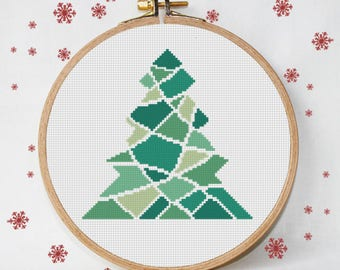 christmas cross stitch pattern, triangles, modern christmas tree, instant download, PDF