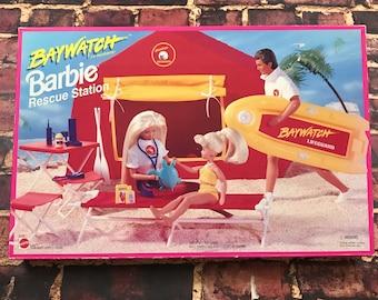 Vintage 90s NEW Barbie Baywatch Rescue Station Set New in Box Barbie Accessories Vintage Barbie Toy Set