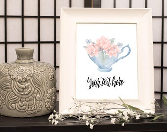 teacup, flowers, teacup of flowers, nursury decor, home decor