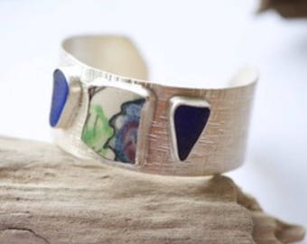 Sterling silver cobalt blue and pottery cuff bracelet