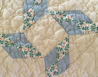 Queen size vintage quilt, hand quilted, in calming colors