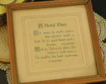 Vintage Inspirational Poem for a Real Man, Framed Under Glass, Gift for Husband, Lover, Friend, Best Friend, Man in Your Life, Groom, Father