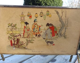 Lithographies. Porte revues . Art asiatique. No copy. Magazine holder. Vintage.