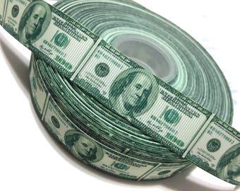 "1"" Money Ribbon, 100 dollar ribbon, Benjamin Franklin Ribbon, US currency ribbon, Money Grosgrain Ribbon"