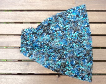 Headband extra large blue and black floral design. Women's fashion accessory. Hair, hair style. Hand made.