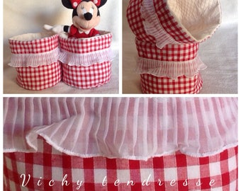 Set of 2 gingham red and ecru tenderness storage bags