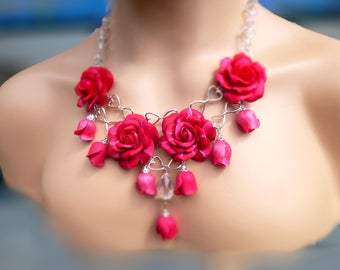 Rose necklase Red necklase Flower necklase Gift for women Unique jewelry Unusual necklase Polymer clay jewelry Pink necklase